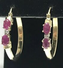 "14k Yellow Gold Genuine DIAMOND and RUBY 1"" Large Hoop Earrings!!"
