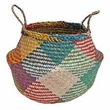 Seagrass Belly Basket, Shopping Storage Laundry Planter, Multi Coloured