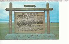 Fort Peck Historical Marker   Montana  Postcard 81116