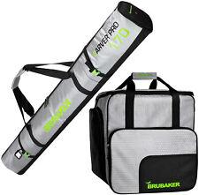 BRUBAKER Ski Bag Combo Tec Pro - Boot Bag and Ski Bag - Silver/Green