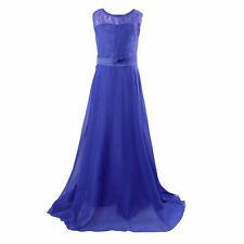 38de5a64c5a UK Kid Flower Girl Bridesmaid Lace Maxi Dress Wedding Party Princess  Ballgown