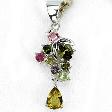 AMAZING NATURAL FANCY COLORS TOURMALINE STERLING 925 SILVER PENDANT CHAIN FREE