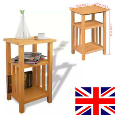Side End Table With Magazine Shelf Solid Oak 27 X 35 X 55 Cm Storage Rack R3d1