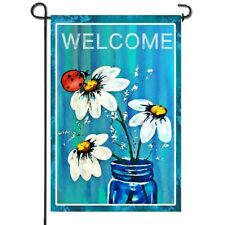 Anley Double Sided Spring Summer Daisy Jar and Ladybug Welcome Garden Flags