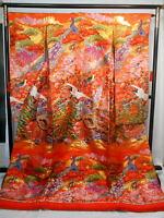 "Japanese kimono,SILK,IRO-UCHIKAKE"", Gold, Lame, Peacock, Orange, Pink flowers.."