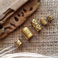 Brass Dreadlock Beads 5 x  4-10mm Hole Gold Tone Tubes Beard Rings Dread  Beads