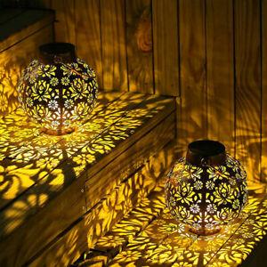 Solar Powered LED Light Lantern Hanging Outdoor Garden Lamp Morrocan Decor Yard