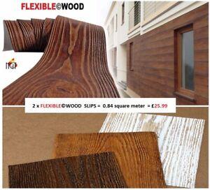 2 x ARTIFICIAL WOOD SLIP CLADDING WALL TILES FLEXIBLE OUTDOOR, INDOOR = 0.84 sqm