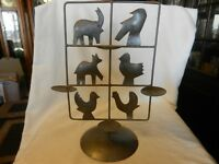 Hand Made Silver Metal Votive Candle Holder With Animal Silhouettes