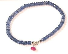 "kyanite gemstone bracelet solid 14k white gold 7"" 18cm"