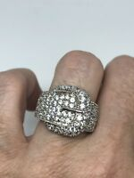 Deco Genuine White Sapphire Vintage 925 Sterling Silver 7 Buckle Ring