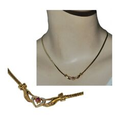 Necklace Gold Plated 18 Gold Mesh English Claddagh Heart Hand Jewel
