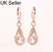 2375ea49c Rose Gold Plated Crystal Twisted Peardrop Dangle Drop Earrings Womens UK  Stock