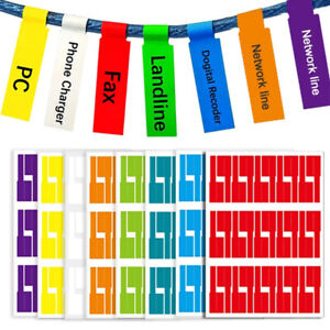 150 Cable Wire Labels Identification Markers Self-adhesive Tags 5 Colour Sticker