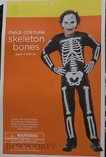 Halloween Boys Child Black with White Skeleton Bones Costume Size Small 4-6 NWT