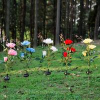 Solar 3-LED Rose Flower Light Outdoor Yard Garden Lawn Pathway Lamp Seraphic
