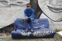 Herren Strick Pullover Pulli cyan Rollkragen 90s TRUE VINTAGE 90er knitwear blau
