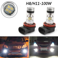 2X 6000K White H8/H11 LED Bulbs High Power 100W LED Car Fog/Driving DRL Light A0