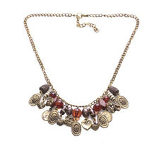 Chica Bohemia- Gold Coins,Brown Beads Embellished/Rustic Bronze Necklace(Zx289)