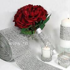 24 Rows Silver Wedding Diamond Mesh Wrap Roll Sparkle Rhinestone Looking Ribbon