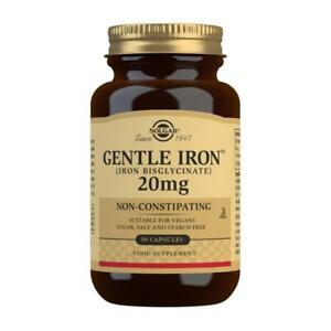 Solgar Gentle Iron (Iron Bisglycinate) 20 mg Vegetable Capsules for Sensitive