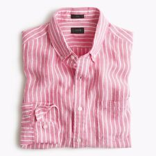 NEW J. CREW MEN'S BAIRD McNUTT IRISH LINEN SHIRT IN WIDE STRIPE LARGE