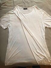 Bershka White T-Shirt With Folded Front Detail-Mens