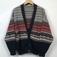 LIMNOS Vintage Red Grey Blue Like Coogi 100% New Wool Button Cardigan Sweater XL