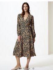 M&S tan print dress size 16