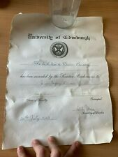 "1943 UNIVERSITY OF EDINBURGH ""THE WHITESIDE BRUCE BURSARY"" AWARD CERTIFICATE"
