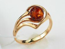 Fashionable Baltic Amber Ring Solid Steling 925 Silver Gold Filled  size 7.25