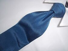 "Corneliani Blue Repp Stripe Woven Silk & Cotton Blend Tie 58""x 3.3/4"""