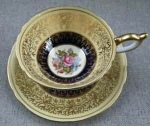 AYNSLEY J.A. Bailey Signed Cabbage Rose Cobalt Blue With Gold Teacup and Saucer