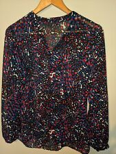 marks and spencer portfolio see thru multicolored  shirt  size 14