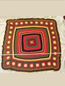 51x51 crochet afgan orange red off center handmade granny squares throw blanket