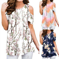 ❤Womens Summer Floral Short Sleeve Tunic Tops Loose Cold Shoulder Blouse T Shirt