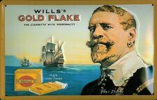 Blechschild Nostalgieschild Will's Gold Flake Zigaretten Schiff Cigarette 20x30