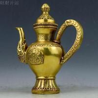 Chinese antique handmade brass statue Chinese knot dragon teapot wine pot flagon
