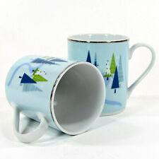Target Home WINTER SOLSTICE - BLUE 12oz Mug Set 2Pc Christmas Pine Tree Platinum
