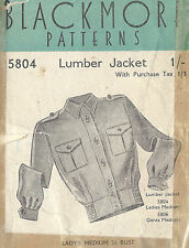 1940s WW2 Vintage Sewing Pattern B36 LUMBER JACKET LADIES (1361)