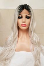 White Grey Silver Blonde Human Hair Wig Front Lace Wig Ombre Dark Roots