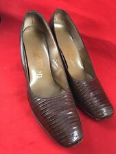 Vintage Ladies Troylings Size 8 A Brown Reptile Skin Riviera Pumps Shoes