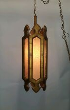 Antique Mid Century Gothic Wood Cloth Hanging Chandelier