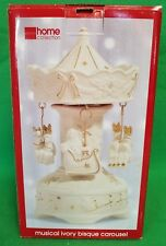 JC Penney Home Collection Musical Ivory Bisque Wind Up Carousel - VGC
