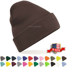 Mens Hat Ribbed Solid Plain Knit Ski Cap Warm Beanie Skull Winter Cuff Hats US