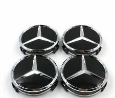 4PCS 75mm Bright Black Wheel Center Hub Cap Badge Emblem Rim Cover Mercedes Benz