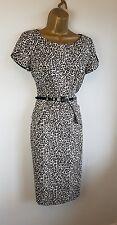 M&S Black Leopard Animal Print Smart Work Office Formal Pencil Dress Size 8 10
