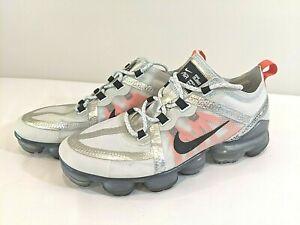 Nike Air VaporMax Men's Size 7.5 Pure Platinum Orange White Black Running Shoes