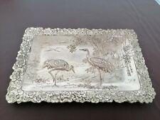 White Metal Dish Embossed With Oriental Scene Of Herons