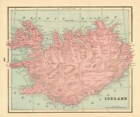 1895 Antique ICELAND Map Vintage Map of Iceland Home Decor Gallery Wall Art 8163